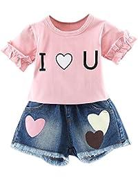 Brightup Bebé Niños Niña Camiseta y pantalones cortos de mezclilla 2 piezas Conjuntos ...