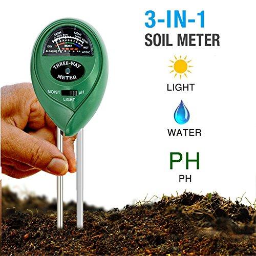 dinowin Boden Hygrometer Feuchtigkeit Meter/Boden PH Säure/Lichtintensität-in Digital Soil Tester für Innen oder Außenbereich Pflanzen Blumen Gras und Rasen