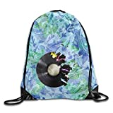 DHNKW CD Art Music Packable Drawstring Bags Lightweight Travel Backpack