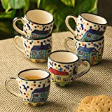 ExclusiveLane 'The Hut Miniatures' Hand-Painted Ceramic Tea & Coffee Cups (Set Of 6) - Tea Cups Set Of 6 Tea Mugs Coffee Mugs Chai Glasses Ceramic Mugs Milk Mugs Tea Sets Tableware Coffee Cup Set Cups For Tea Tea Cups And Mugs Designer Cups Mugs Set D