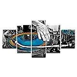 WNIUN ART Una pittura astratta HD parete stampate immagini Frame Decor Home 5 pezzi piastra a mano DJ Console musicale strumento tela in tessuto Poster,size 2,con incorniciato