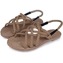 dmuy bohemios sandalias de correa cruzada retro tejido de camo zapatos hechos a mano de