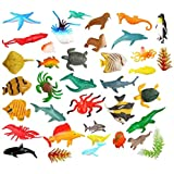 SUPER TOY Aquatic Sea Animals Toy Figure Playing Set for Kids (Pack of 40)