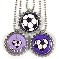 I Love Soccer in Purple - 3 Bottlecap Necklaces by Inspire Bottlecaps preisvergleich bei billige-tabletten.eu