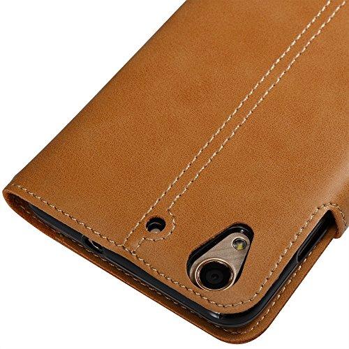 Solid Color Faux Ledertasche Retro Folio Horizontale Flip Stand Case mit Magnetniet Verschluss & Card Slots & Lanyard für Huawei Y6 II ( Color : Blue ) Khaki