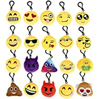 Cusfull Mini Emoji Keychain Lovely Emoji Plush Pillows Emoticon Key Ring Soft Party Bag Filler Toy Gift for Kids (20 pack)