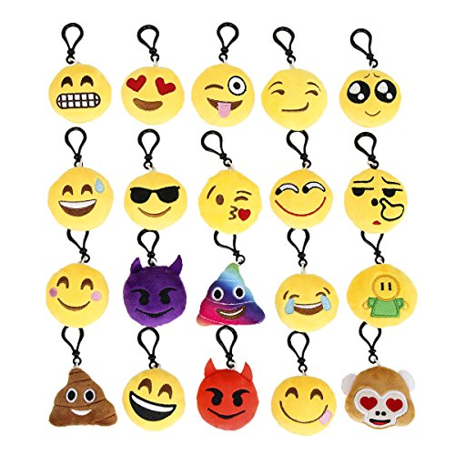 Cusfull 20 Pack Mini Emoji Key Chain Lovely Emoji Plush Pillows Emoticon Key Ring Soft Party Bag Filler Toy Gift for Kids
