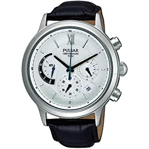 Pulsar Uhren - PU6005X1 - Montre Homme - Quartz Chronographe - Chronomètre - Bracelet Cuir Noir