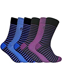 6 Pairs Mens Funky Soft Antibacterial Colourful Patterned Bamboo Dress Socks 7-11 UK