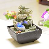 Indoor Water Feature Indoor Fountain with LED Lights and Magic Crystal Ball Home Decor Garden Ornaments Feng Shui Ornaments Ideal Gift (D 135x135x180mm)