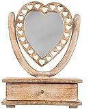 Sass & Belle Glas Spiegel Petit Holz Herz Schminktisch mit Schublade, braun