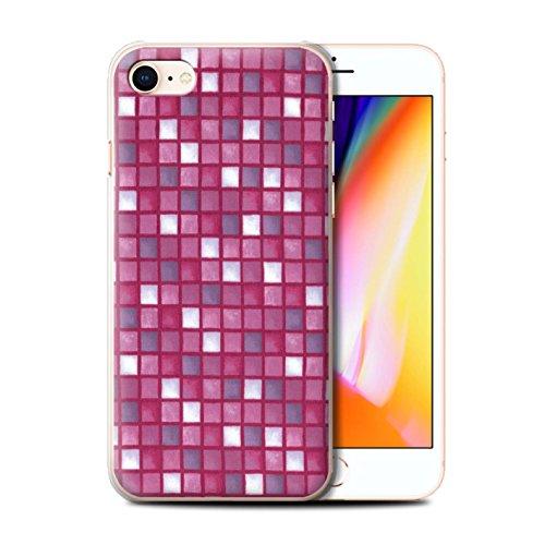 Stuff4 Hülle / Case für Apple iPhone 8 / Lila/Weiß Muster / Bad Fliesen Kollektion Rosa