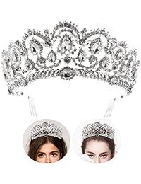 Rhinestone nupcial Celada Corona Bling Crystal Tiara de la reina con el peine lateral Joyería brillante Decoración para la boda (Plata)