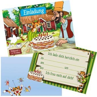8 Einladungen + Umschläge (Party Großhandel)