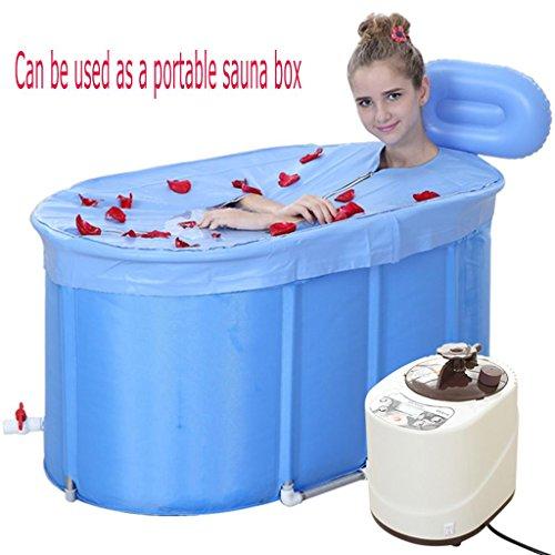 Klammer Wanne und Badewanne die faltende Sauna Home Khan Dampfbad Familie Dampf Sauna Box Falten einzigen Khan Dampfkiste Medizin Begasung Maschine Schweißkisten 120 * 70 * 70cm blauTragbare Sauna, - Pvc-dusche-badewanne-stuhl
