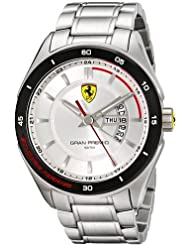 Scuderia Ferrari Gran Premio Mens Stainless Steel Day & Date Watch 0830187