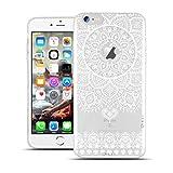 HULI Design Case Hülle für Apple iPhone 6 Plus / 6s Plus Smartphone im Orientalischen Muster weiß - Hülle aus TPU Silikon - Schutzhülle mit orientalischem Mandala Henna Ornament - Handyhülle mit Druck