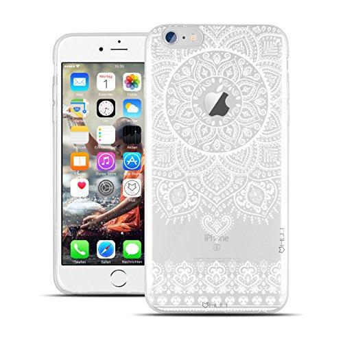 HULI Design Case Hülle für Apple iPhone 7 Smartphone im Orientalischen Muster weiß - Schutzhülle klar aus Silikon mit orientalischem Mandala Sonnenmuster Henna Ornament Traumfänger - Handyhülle