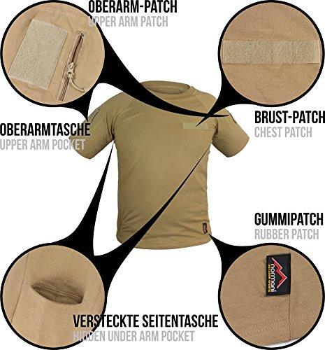 Taktisches Tropen T-Shirt mit Armtaschen, Unterarmtaschen und 3 Klettpatchflächen Khaki
