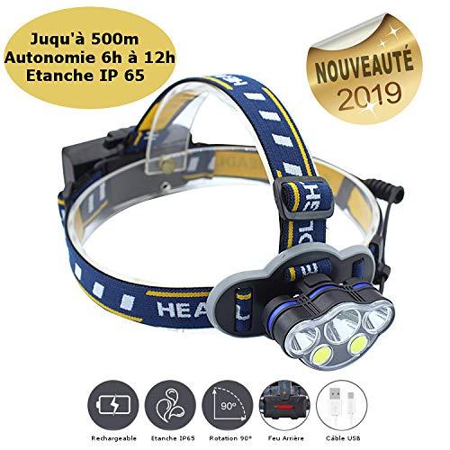 CLEM Provence - Lampe Torche Frontale Rechargeable, Etanche IP65, Portée 500m Ultra puissante, LED Nouvelles Générations, 6 à 12h d'Autonomie (4000 mA), Feux Rouges, Idéale Toutes Activités.