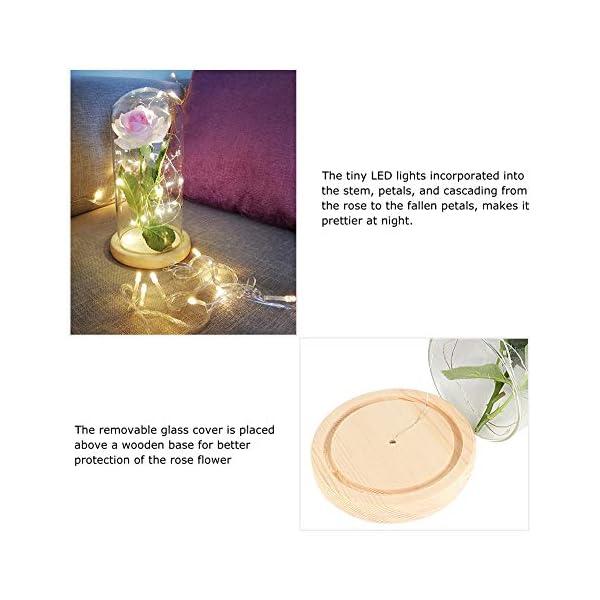 Lámpara LED rosa con cubierta de vidrio, lámpara LED rosa con flor artificial Luz de noche Boda romántica Fiesta de…