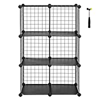 SONGMICS 6 Cubes Metal Wire Storage Rack, Interlocking Shelving Unit with Shelves and PP Plastic Sheets for Book Shoes Toys Clothes Tools, in Living Room Bathroom 63 x 31 x 93 cm