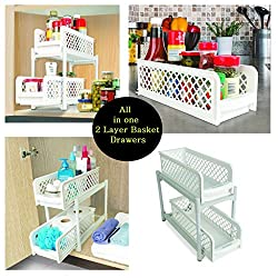 Sterling 15 Versatile 2 Tier Portable Sliding Basket Drawers Storage Cabinet Box