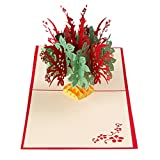 3D Greeting Card ,Xshuai® 3D Pop Up Cards Fantastic Flower Handmade Kirigami Paper Valentine Lover Happy Birthday Anniversary Greeting Cards Gifts for Invitation Wedding Love (J)