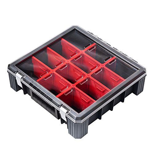 ADB Sortimentskasten/Sortierkasten/Sortimentskiste/Organizer/Kleinteilebox für Schrauben, Muttern, Kleinteile etc, 400x389x400x110mm, 11 Trennwände (Schrauben-organizer Muttern-und)