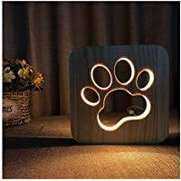 Erwa LED Luz De Noche De Madera Mesas Pequeñas Pata De Perro Lámparas De Mesa Lámpara