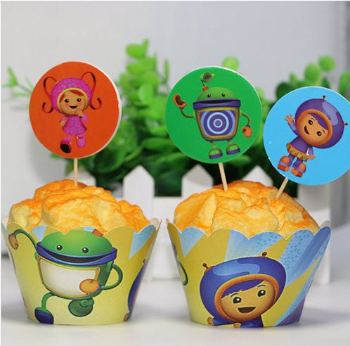 12X TEAM UMIZOOMI KIDS PARTY BIRTHDAY CAKE CUPCAKE WRAPPER TOPPER