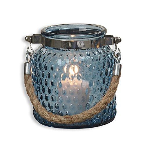 Preisvergleich Produktbild Windlicht VALO - blau - Glas - Ø 10 cm Dots - Waben mit Seil Sisal Unikat