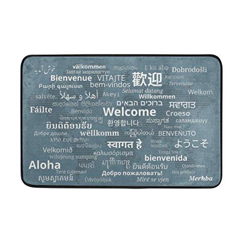 ALAZA My Daily Fußmatte Welcome in Multi Sprachen mit Weltkarte 15,7x 23,6, Wohnzimmer Schlafzimmer Küche Bad dekorativ Einzigartige leicht Bedruckt Teppiche Teppich, Polyester, grau, 15.7