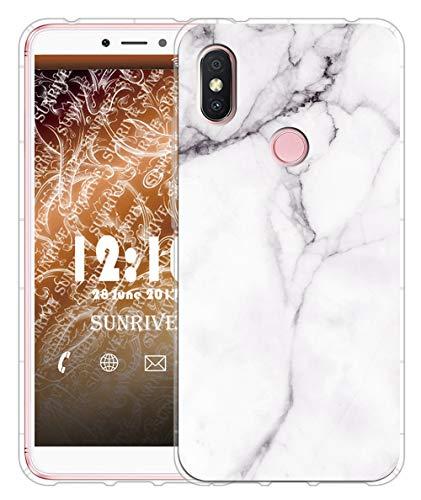 Sunrive Funda para Xiaomi Redmi S2, Silicona Slim Fit Gel Transparente Carcasa Case Bumper de Impactos y Anti-Arañazos Cojín de Aire Espalda Cover(TPU Mármol Blanco)