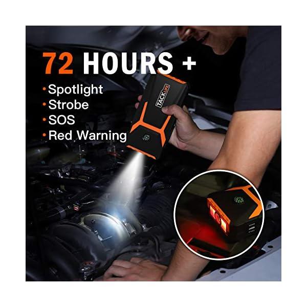 TACKLIFE Arranque motor de 18000 mAh con pantalla LCD, amplificador de batería automático de 12 V con cable de puente…