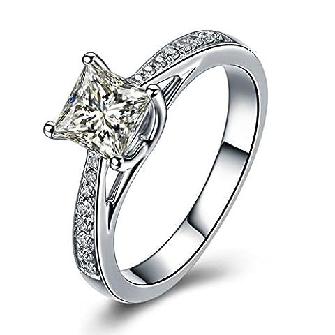 KnSam S925 Silber Damen Ring 1 Karat Cubic Zirkonia Verlobungsringe Prinzessin Eheringe Modeschmuck Größe 58 (Prinzessin Set Manschettenknöpfe)