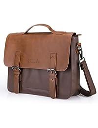 c633e1258b572 Often Aktentasche Herren Premium Ledertasche Bürotasche Umhängetasche  Handtasche Laptoptasche 14 Zoll Lehrertasche…