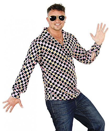 80er 70 Kostüme Jahre (Foxxeo 40198 | cooles 70er 80er Jahre Hippie Hemd für Erwachsene Karneval Fasching Party Gr. S - XXL,)