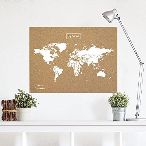 Miss Wood Map XL   Mapa del mundo de corcho  60 x 90 cm  Blanco