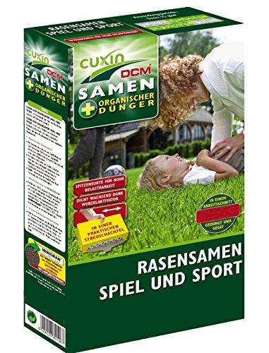 Cuxin 80113 Rasensamen Sport & Spiel 1,5 kg für ca. 100 m² - 80% Rasensamen + 20% organischer NP-Dünger 4-23