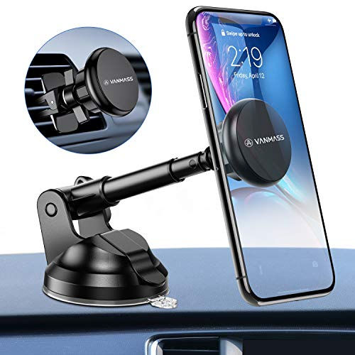 VANMASS Handyhalter fürs Auto Magnet Lüftung & Saugnapf Universale 3 in 1 KFZ Handyhalterung mit 6 Superstarker Magnete 360°Drehbar Halter für iPhone 11 Pro MAX/XS/XR/X Galaxy Note 10+/S10/S9/S8 usw