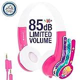 ONANOFF BuddyPhones Explore - Cuffie per Bambini con Microfono in linea e Cavo Collegabile, Rosa/Bianco