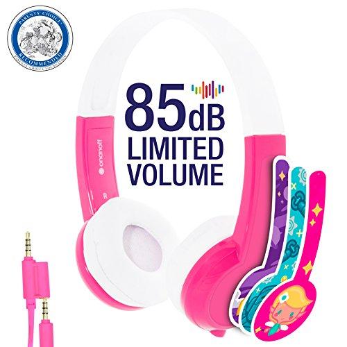 ONANOFF Casque Audio pour Enfant avec Limitation de Volume - Modèle Explore   Niveaux de Volume 85dB   Microphone Intégré  Rose