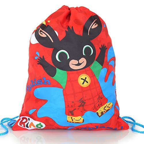 Bing Bunny Taschen Zum Bemalen Für Kinder | Rote Leichte Sporttasche Mit Kordelzug | Kinderrucksäcke Klein | Rucksack Kinder Junge Für Fußball, Schwimmen | Schultasche Geschenke | Mini Bag Jungen