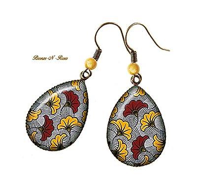 Boucles d'oreilles gouttes ° Fleurs° gris jaune rouge africain tissu wax motifs Ethniques