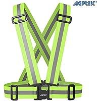 AGPtek Alta Calidad- Arnés Chaleco Reflectante - Alta visibilidad para Seguridad de Día y Noche