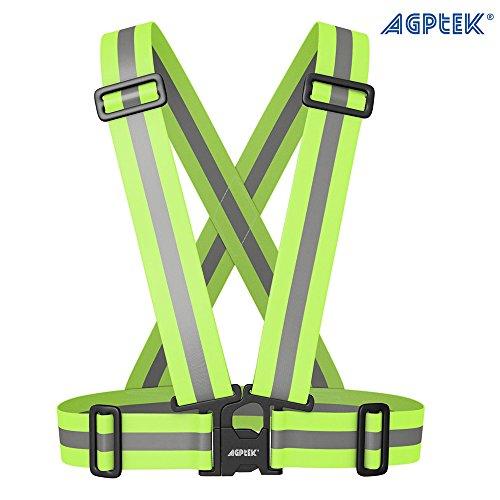 AGPtek® Arnés Chaleco Reflectante para Moto de Alta visibilidad para Aumentar la Seguridad por Día/Noche, para Moto, Bicicleta, Correr, Hacer Deportes en Exterior-Ajustable para Todos los Tamaños-Ligero y Impermeable Fluorescente