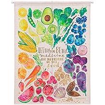 Vorhänge Obst Und Gemüse Muster Halbvorhang Schatten Staubdicht Trennvorhang  Tuch Ohne Teleskopstange,E 85CM