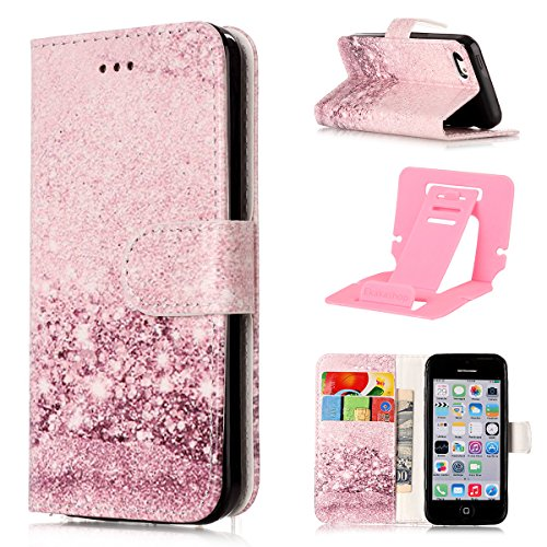 Custodia iphone 5C Antiurto,Cover iphone 5C in Pelle,Ekakashop Moda Colorato Marmo Pattern Vintage Cellulare Cover Shockproof Completa Protettivo Caso Cover Custodia Per iphone 5C con Ekakashop Kickst Rose Gold