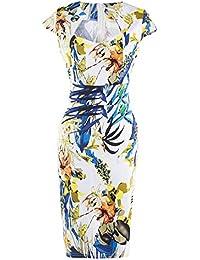Vestido de Fiesta Mujer V-cuello Manga Corta Impresión Flor Vestidos Cocktail Lápiz Vestido